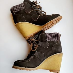 See by Chloe Wallabee Wedge booties 6.5